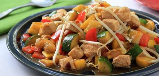 A chicken and vegetable stir-fry.