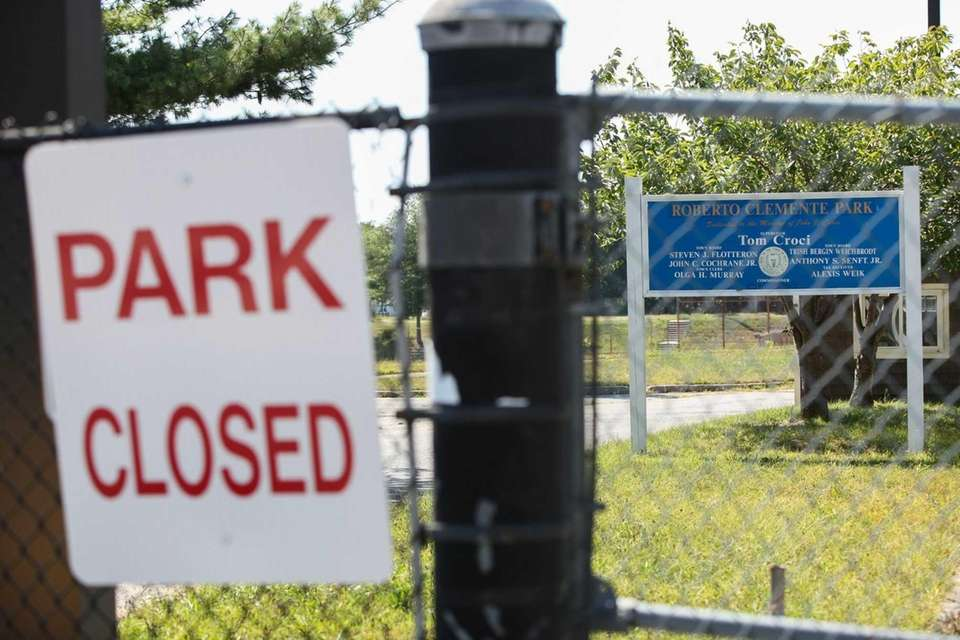 The closed Roberto Clemente Park in Brentwood is