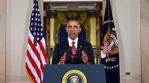 President Barack Obama addresses the nation from the