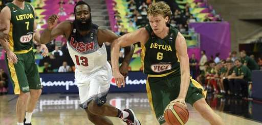 US forward James Harden, left, vies with Lithuania's