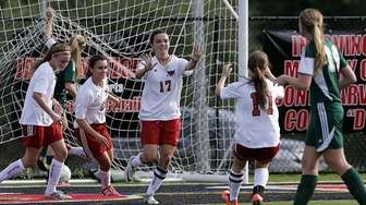 Half Hollow Hills East's Christina Bellero celebrates with