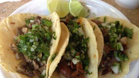 A trio of tacos at Taqueria Cielito Lindo