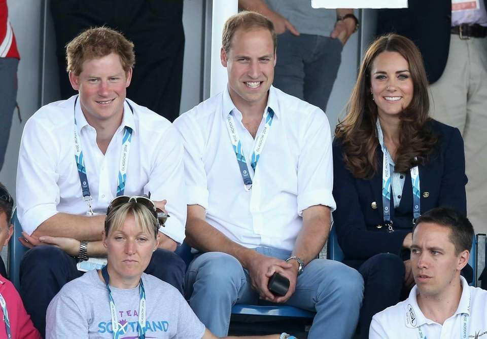 Prince Harry, Prince William and wife Catherine, the