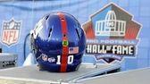 The helmet of Giants quarterback Eli Manning with