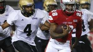 Stony Brook's James Kenner rushes for a first