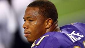 Ray Rice #27 of the Baltimore Ravens sits