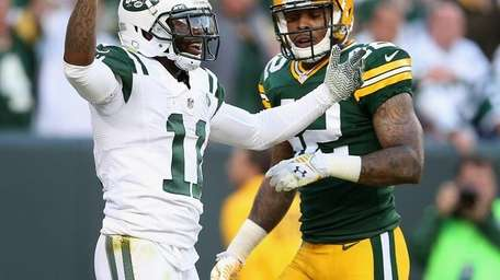 Jets wide receiver Jeremy Kerley reacts after not