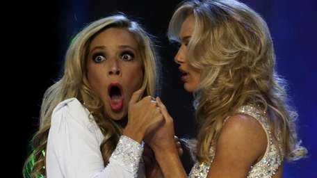 Miss New York Kira Kazantsev gasps after being