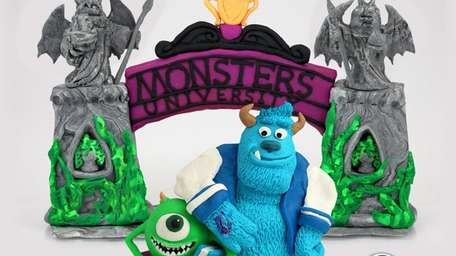 Sculptures of Mike and Sulley from