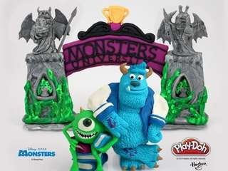 "Sculptures of Mike and Sulley from ""Monsters University"""