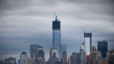 The skyline of lower Manhattan is seen from