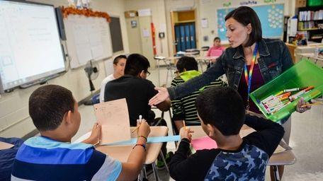 Allison Manttari teaches her eighth grade E.S.L. students