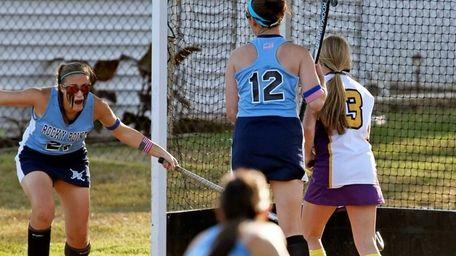 Rocky Point's Jenna Sanossian #21 reacts after scoring
