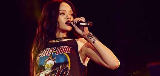 Rihanna performs on the The Monster Tour with