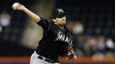 Nathan Eovaldi of the Miami Marlins pitches in