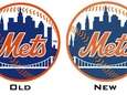 The original and slightly altered Mets logos side