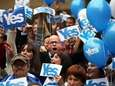 People react during a pro-Scottish independence campaign rally