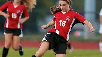 East Islip forward Rachael Florenz moves the ball
