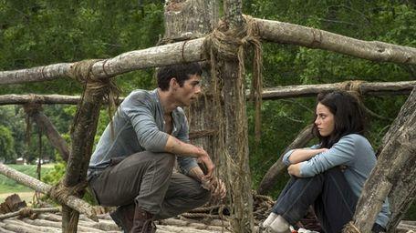 Dylan O'Brien and Kaya Scoderlario in a scene