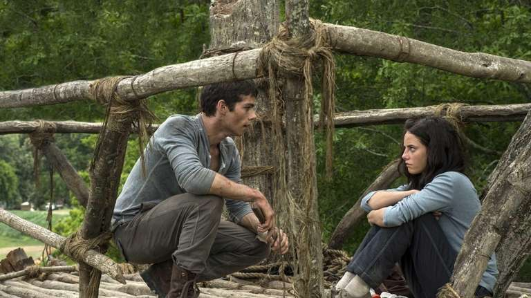 Dylan O'Brien and Kaya Scoderlario in a scene