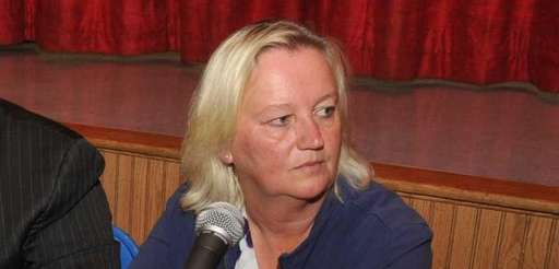 President Donna Hochman, right, with Superintendent Daniel Giordano,