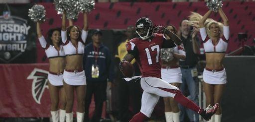 Atlanta Falcons wide receiver Devin Hester runs back