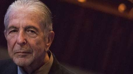 Leonard Cohen attends a listening party for his