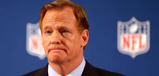 NFL commissioner Roger Goodell talks during a press