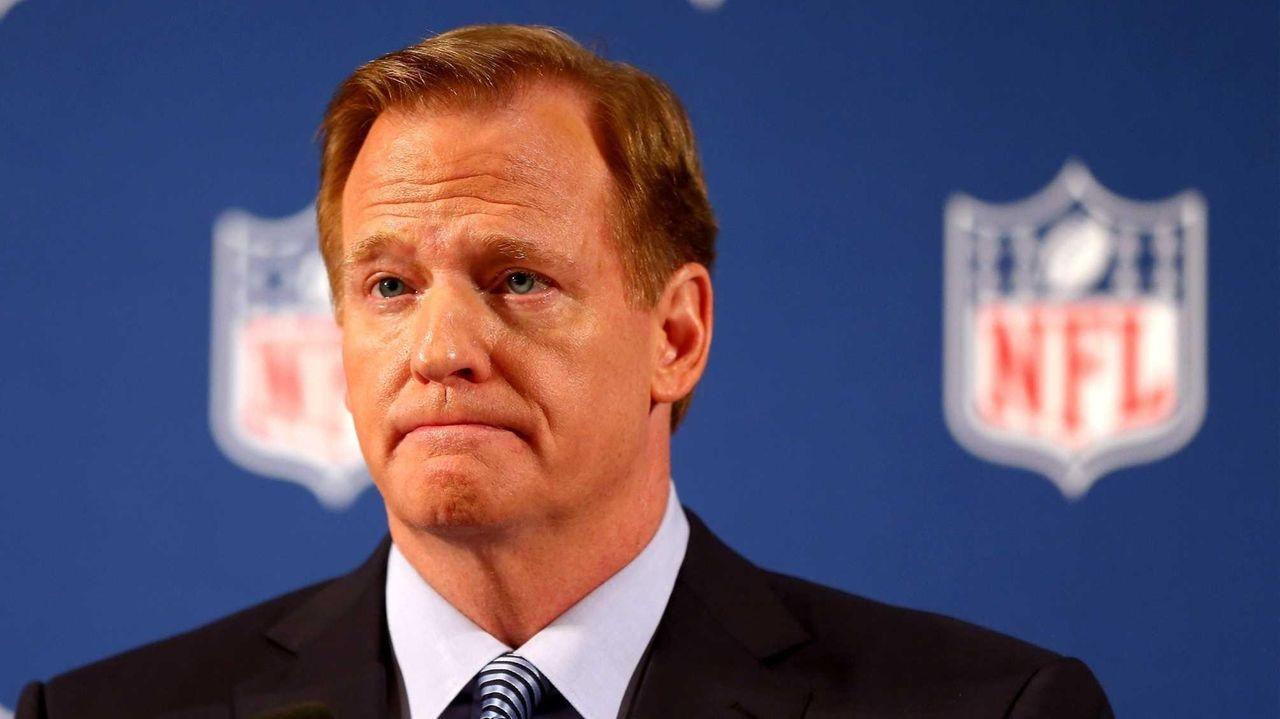 NFL commissioner Roger Goodell talks during a press