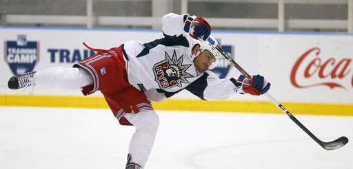 Ryan Bourque #25 of the Rangers skates during