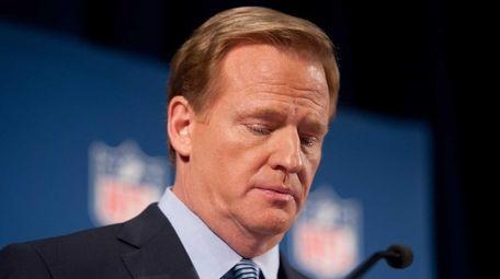 NFL commissioner Roger Goodell speaks at a press