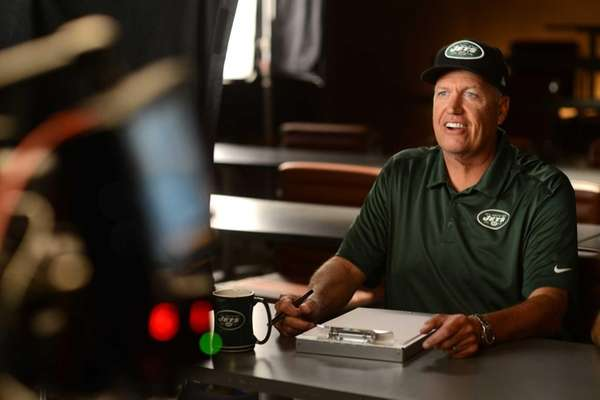 Jets coach Rex Ryan on set of a