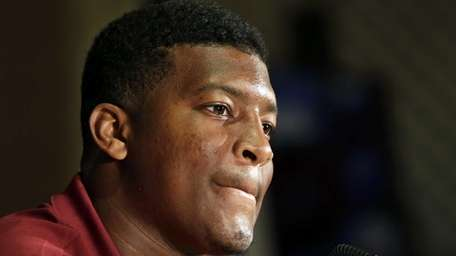 Florida State's Jameis Winston answers a question during