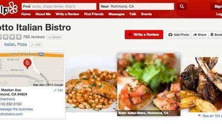 A screenshot of Botto Bistro's Yelp page.