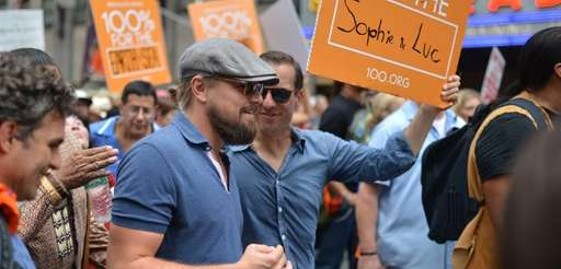Leonardo DiCaprio marches in the People's Climate March
