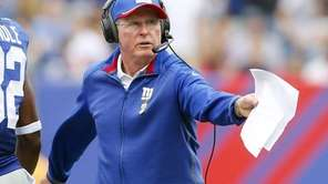 Giants head coach Tom Coughlin reacts during a