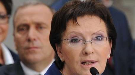 Poland's Prime Minister-designate Ewa Kopacz speaks during the