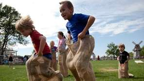 Kids can participate in potato sack races and