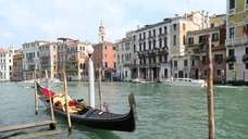 A gondola floats on the Grand Canal.
