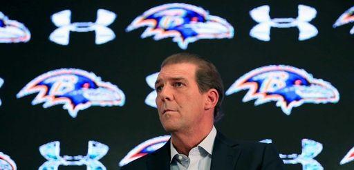Baltimore Ravens owner Steve Bisciotti addresses the media