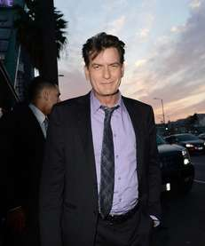 Charlie Sheen arrives at the Dimension Films'