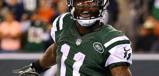 Jets wide receiver Jeremy Kerley celebrates a second-quarter