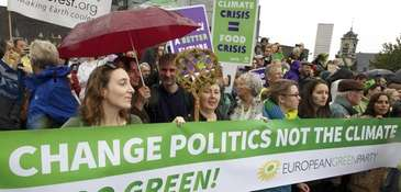 Demonstrators take part in the People's Climate March