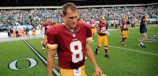 Quarterback Kirk Cousins of the Washington Redskins walks