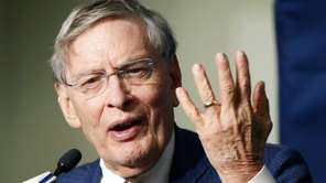 MLB commissioner Bud Selig speaks to the media