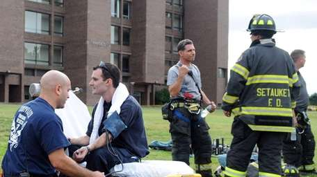 A Stony Brook University fire marshall is tended