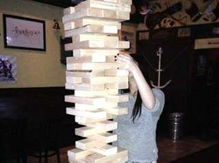 "The Leaky Lifeboat in Seaford hosts ""Giant Jenga"""