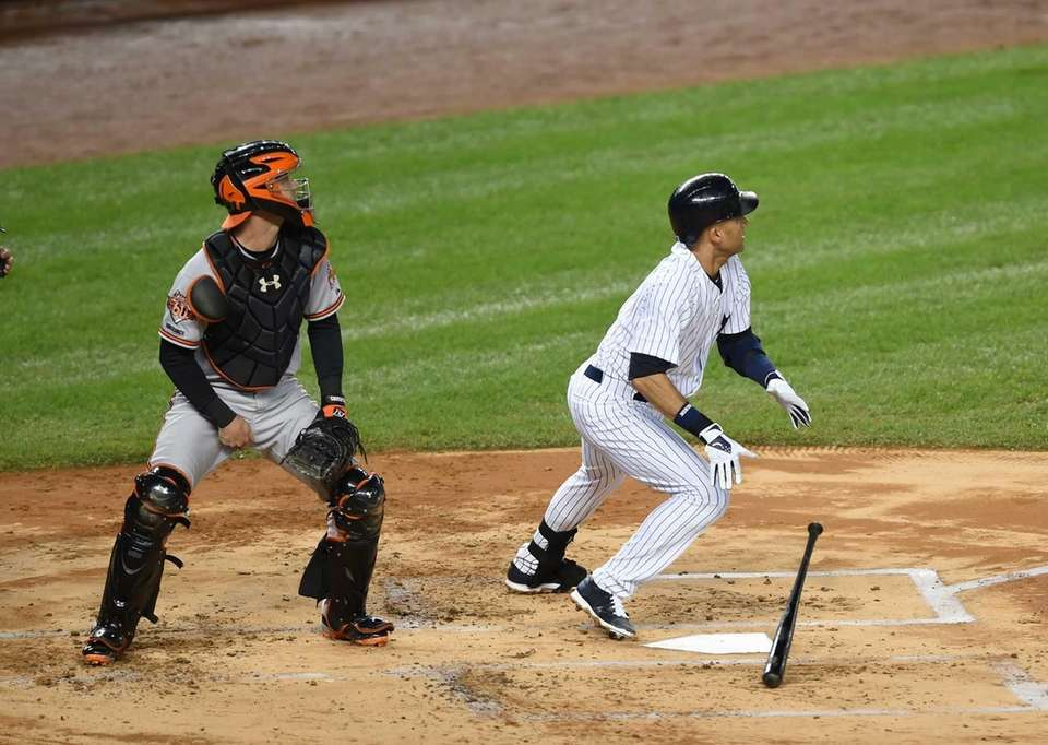 Yankees' Derek Jeter knocks a double in his
