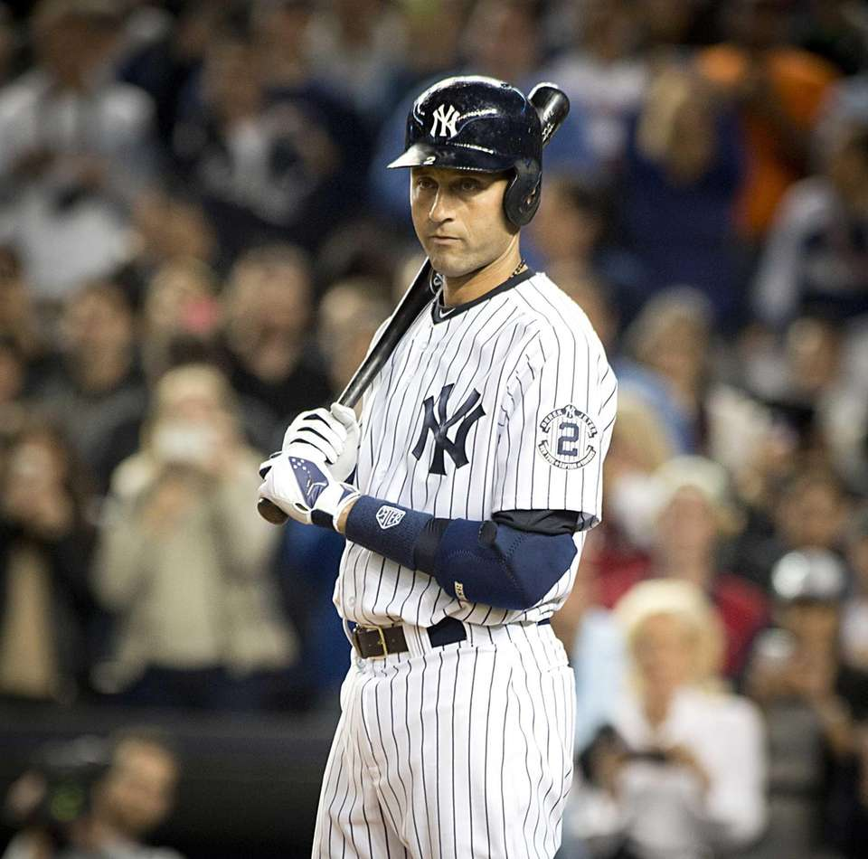 Yankees' Derek Jeter gets his assignment from the