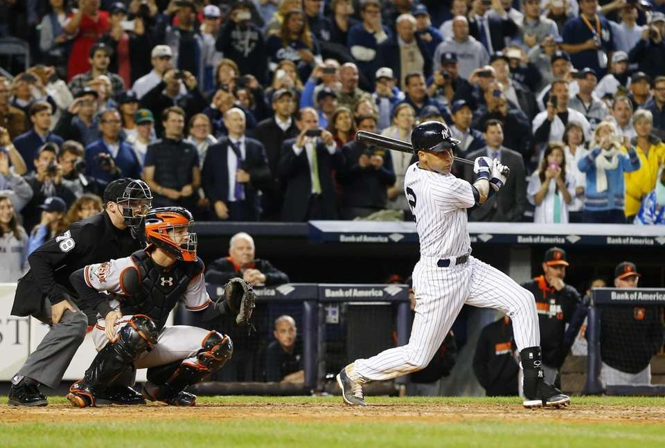 Derek Jeter, No. 2 of the Yankees, follows